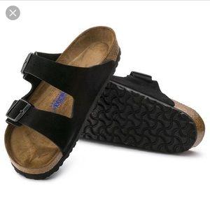 Black suede Birkenstock's